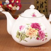 Billige rosa Farbe Rose Blume gedruckt Porzellan Teekanne gesetzt einzigartige Keramik Teekanne für Erwachsene gesetzt