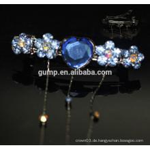 Blaue Blumen-Entwurfs-preiswerte Rhinestone Hairgrip Mädchen-Haar-Zusätze Glitter Kristall-Barrette