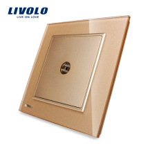 Livolo 1 Gang Телевизионная розетка Панель из хрусталя Золотая настенная розетка для телевизора 220v VL-W291V-13 (TV)