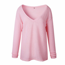 Autumn winter long sleeve pullover keep warm wide round neck woman sweater