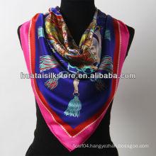 2014 new product hangzhou 100% silk blue fringe scarf china wholesale
