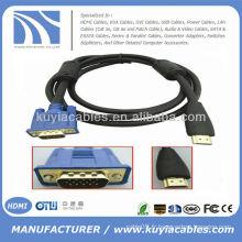 Câble HDMI à VGA plaqué or avec double ferrits mâle à mâle 1.5M