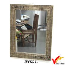 Большой деревянный рамный антикварный прямоугольный настенный зеркальный
