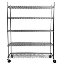 Chrome cromado de aço carbono Mobile Wire shelving rack de armazenamento