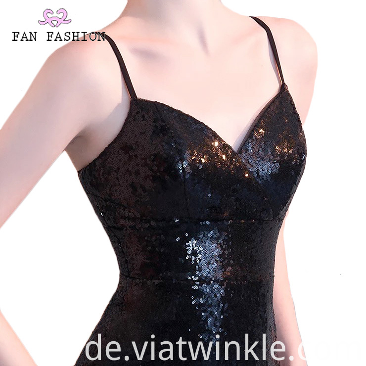 Sequin Black Evening Dress