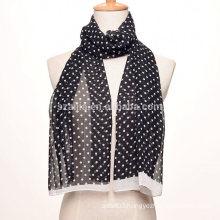 Fashion dotted print polyester silk long chiffon scarf