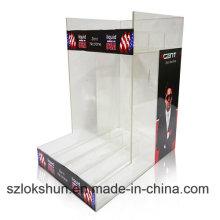 Exhibición del folleto del punto de la compra de acrílico de 3m m, venta al por menor Soportes de la tapa del contador de acrílico