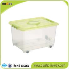 Transparent Plastic Storage Box with Wheels