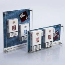 Elegante diseño de acrílico personalizado venta de exhibición de cigarrillos para la pantalla de fábrica Proveedor