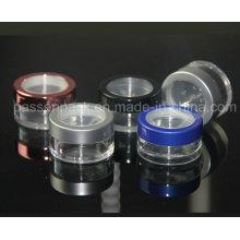 5g rodada de plástico solto Pó Jar para embalagem de cosméticos (PPC-LPJ-002)