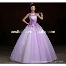 Princesa de moda Sweetheart sem mangas Puffy Organza Vestidos Quinceanera roxos Elegante Lady