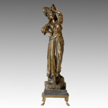 Classical Figure Statue Woman Stean Bronze Sculpture TPE-003
