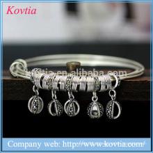 Pulseira de prata tailandesa pulseira bebê charme três camadas crianças pulseira 925 jóias de prata esterlina