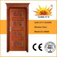Portas de madeira interiores da qualidade superior MDF com madeira maciça (SC-W088)