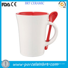 Red Inside Novelty Coffee Mug with Spoon