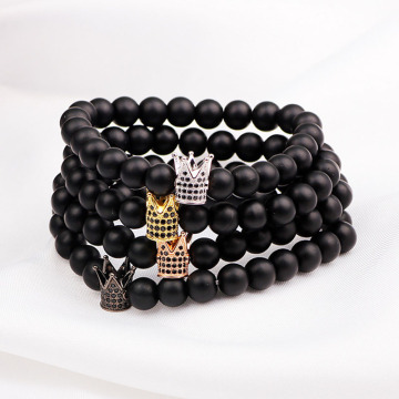 Mens natural stone stretch king crown gelang