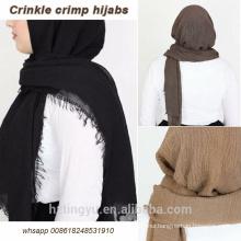 High quality Wholesale maxi muslim scarf shawl bubble cotton crinkle hijab