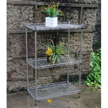 Metal ajustável 4 Tiers Chrome prateleira de malha para o jardim