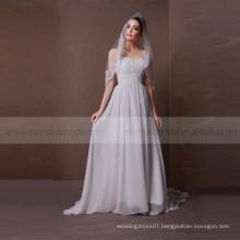 Sightly heart line lace and beads chiffon beach wedding dress