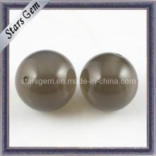 Cuero de color marrón forma redonda Zirconia perlas de cuerda
