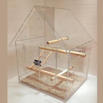 Jaula de pájaros de acrílico claro especial, almacenamiento plexiglás jaula de hámster de aves