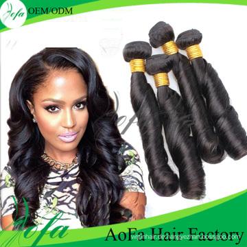 Wholesale unverarbeitete reine Menschenhaar Remy Haareinschlagfaden (Feder lockig)
