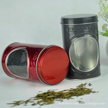 2016 Food Grade Material Round Metal Tin Box with PVC Window