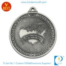 Heißer Verkauf kundengebundener antiker silberner Überzug-Zink-Legierungs-2D Fliegen-Medaille für Geschenk