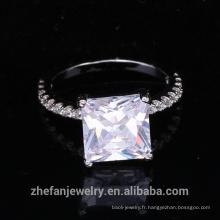 gros bijoux fournitures chine carré cubique zircon anneau avec rhodié