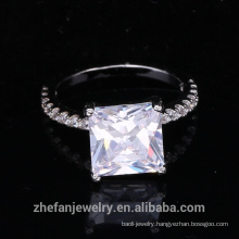 wholesale jewelry supplies china square cubic zircon ring with rhodium plated