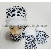 Promoción Señora tejida Invierno cálido impreso Polar Fleece Set