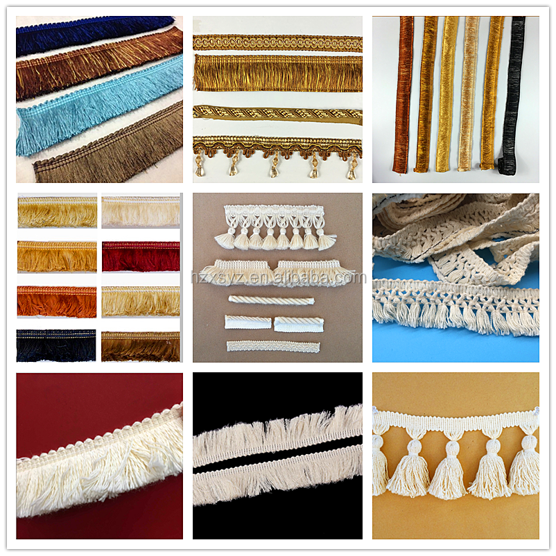 Polyester brush trimming fringe used for pillow cushion fringe