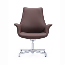 Modern Low Back Leather Reception Chair Commercial Guest Visitor Armchair