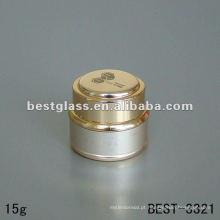 Frasco de creme de 15g com tampa de alumínio dourado e alumínio dourado