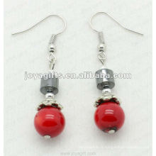 Magnético Hematite Red Coral Beads Brincos