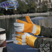 NMSAFETY natural cow split leather double palm work gloves yellow