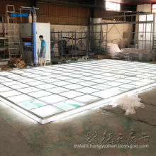 Lighting exhibition floor system with tempered glass