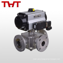 dn20 pneumatic three way concealved ball valve