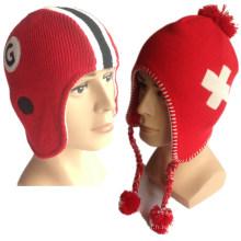 100% Acrylique Spécial Fils Tricoté Haute Qualité Meilleur Prix Knitting Earflap Womens Earflap Beanie