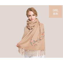 camel color warm embroidery wool scarf