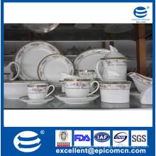 86pcs or 121pcs royal golden round new bone china dinnerware set