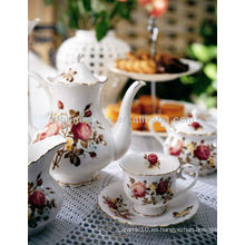 Conjunto de cena de estilo japonés coreano taza y platillo hueso china taza café té conjunto olla