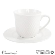 8oz Porcelain Cup and Saucer Embossed Design