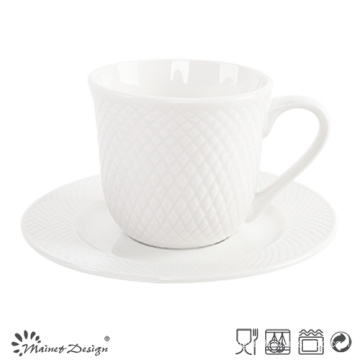 8oz Porcelain Cup and Saucer Embossed Design