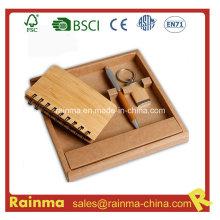 Artículos de papelería de bambú con cuaderno y llavero