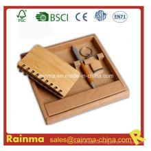 Bambus Briefpapier Set mit Notizbuch und Schlüsselkette