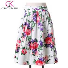 19 Colors ! Grace Karin Cheap Occident Short Retro Vintage Floral Print Cotton Skirt CL6294-3#