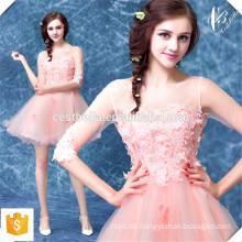 Heißes verkaufendes rosafarbenes Spitze-kurzes geschwollenes Schatz-Miniparty-Abschlussball-Kleid vom Soem-Hersteller