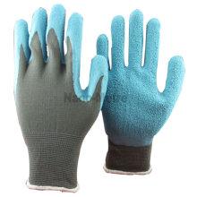 NMSAFETY 13 gauge grey nylon liner coated blue latex garden hand tool glove