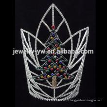 Atacado árvore de Natal design rhinestone coroa de desfile para os homens